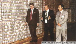 Douglas Ivester, President & Chief Operations Officer of the Coca-Cola Company (left), visiting the company's bottling plant in Al Ain in the UAE. Also pictured are the plant's manager Keith Phipps (centre) and Ehab Afifi, Engineering Manager, Coca-Cola Gulf